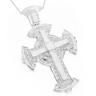 Luxurman 14k White Gold Men's 3ct TDW Diamond Cross Pendant (G-H, SI1-SI2)