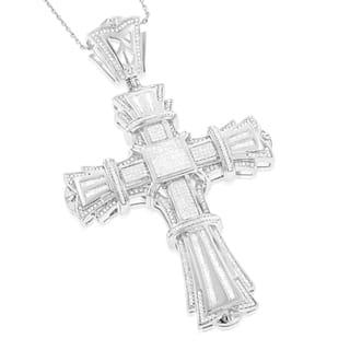 Luxurman 14k White Gold Men's 3 3/4ct TDW Diamond Cross Pendant|https://ak1.ostkcdn.com/images/products/10367508/P17474525.jpg?impolicy=medium
