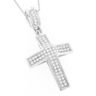 Luxurman 10k White Gold 1/3ct TDW Diamond Cross Pendant (H-I, SI1-SI2)