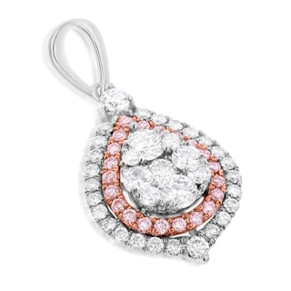 Luxurman 14k White Gold 1 1/4ct TDW Teardrop White and Pink Diamond Cluster Pendant (H-I, SI1-SI2)