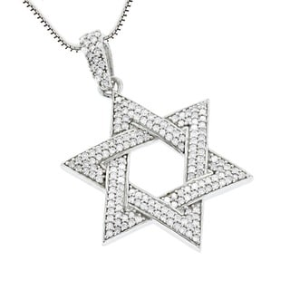 Luxurman Sterling Silver 5/8ct TDW Diamond Star of David Pendant (G-H, SI1-SI2)