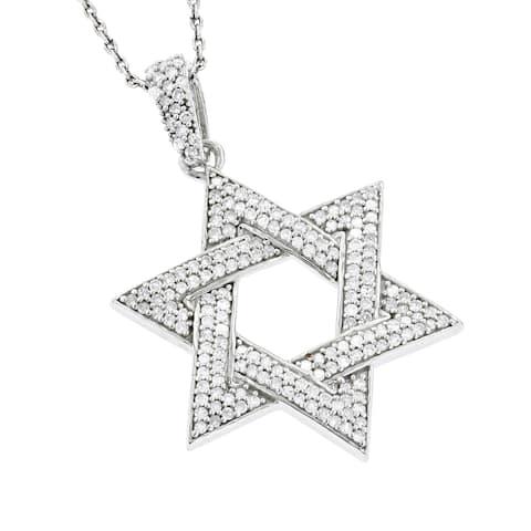 Luxurman 14k White Gold 0.5ct TDW Diamond Star of David Pendant
