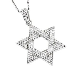 Luxurman 14k White Gold 5/8ct TDW Diamond Star of David Pendant