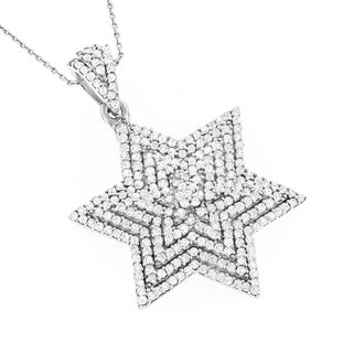 Luxurman 14k White Gold 7/8ct TDW Diamond Star of David Necklace (G-H, SI1-SI2)