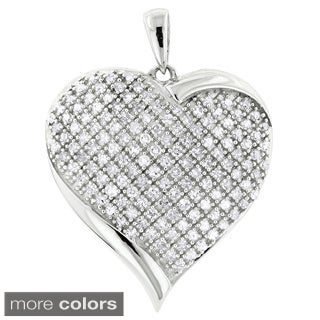 Luxurman 10k White Gold 7/8ct TDW Diamond Puffed Heart Pendant (H-I, SI1-SI2)