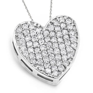Luxurman 14k White Gold 3/4ct TDW Pave Diamond Heart Pendant