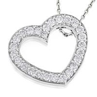 Luxurman 14k Gold 1 3/8ct TDW Round Diamond 'Floating Heart' Pendant