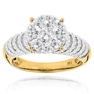 Luxurman 14k White or Yellow Gold 1 1/3ct TDW Diamond Engagement Ring