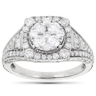 Luxurman 14k White Gold 2ct TDW Diamond Engagement Ring (G-H, VS1-VS2)