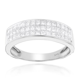 Luxurman 14k Gold 1 3/8ct TDW Princess-cut Diamond Wedding Band (More options available)