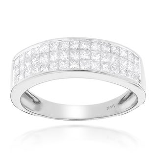 Luxurman 14k Gold 1 3/8ct TDW Princess-cut Diamond Wedding Band