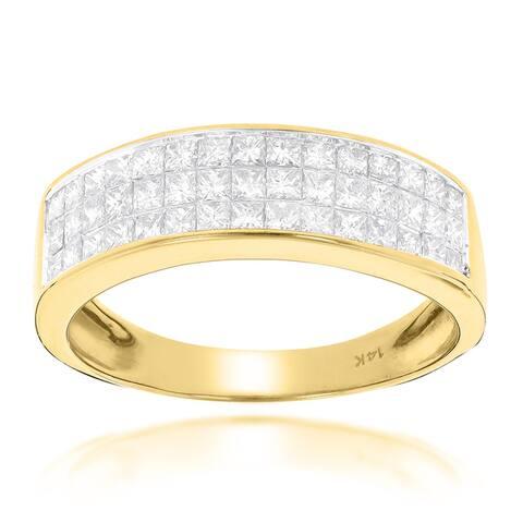 Luxurman 14k Gold 1 3/8ct TDW Princess-cut Diamond Wedding Band