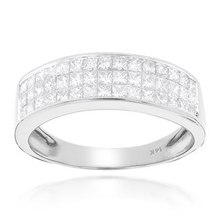 Luxurman 14k Gold 1 3/8ct TDW Princess-cut Diamond Wedding Band (G-H, SI1-SI2)