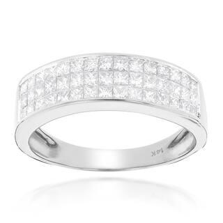 Luxurman 14k Gold 1 3/8ct TDW Princess-cut Diamond Wedding Band|https://ak1.ostkcdn.com/images/products/10367533/P17474550.jpg?impolicy=medium