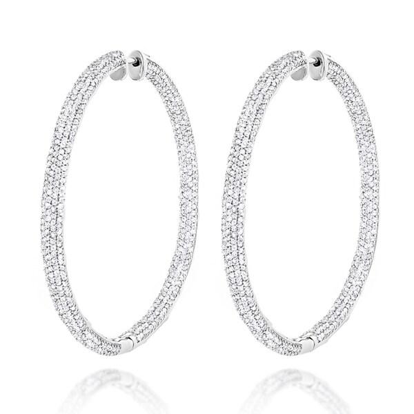 17f96ca19 Shop Luxurman 14k Gold 5 2/5ct TDW Diamond Inside-out Hoop Earrings ...