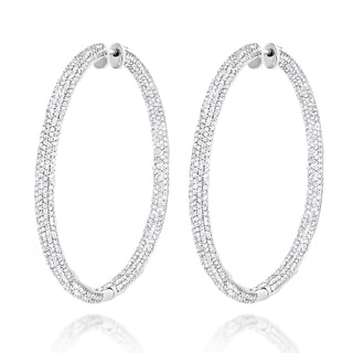Luxurman 14k Gold 5 2/5ct TDW Diamond Inside-out Hoop Earrings (H-I, SI1-SI2)