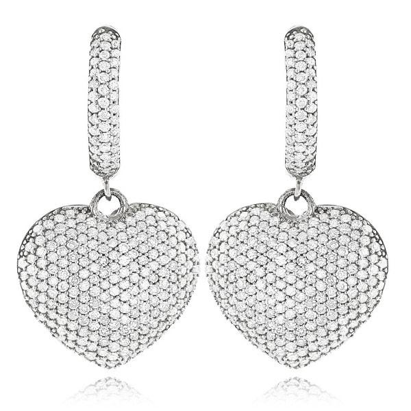 Luxurman 14k Gold 2ct TDW Diamond Dangle Heart Earrings