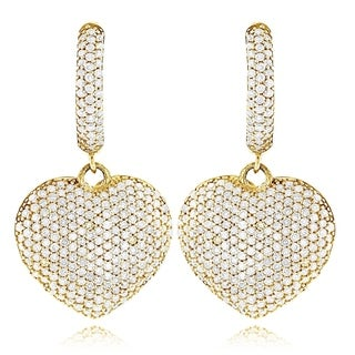 Luxurman 14k Gold 2ct TDW Diamond Dangle Heart Earrings (G-H, SI1-SI2)