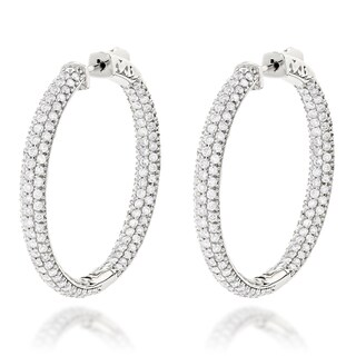 Luxurman 14k Gold 4 3/5ct TDW Diamond Inside-out Hoop Earrings (G-H, VS1-VS2)