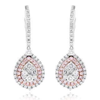 Luxurman 14k White Gold 1 1/2ct TDW Teardrop White and Pink Diamond Cluster Earrings (H-I, SI1-SI2)