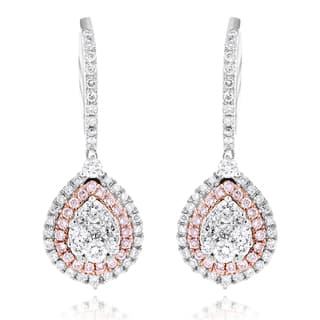 Luxurman 14k White Gold 1 1/2ct TDW Teardrop White and Pink Diamond Cluster Earrings|https://ak1.ostkcdn.com/images/products/10367540/P17474556.jpg?impolicy=medium