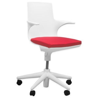 Mod Made Jaden Modern White with Red Cushion Office Chair With Rolling Casters