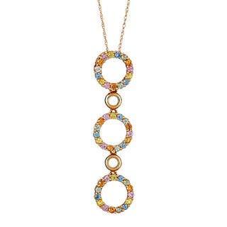 14k yellow gold multi sapphire pendant necklace