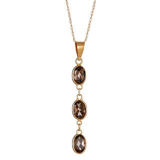 14k Yellow Gold Smokey Quartz Pendant Necklace