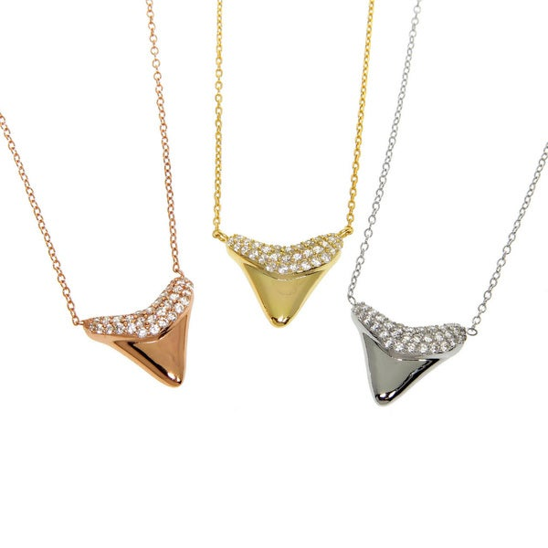 Eternally Haute Solid Sterling Silver Pave Cubic Zirconia Shark Tooth Necklace. Opens flyout.