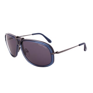 Tom Ford Robbie Sunglasses TF286 91A, Tortoise Shell Brown and Navy Blue Frame, Brown Gradient and Blue Lenses