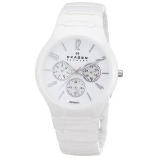 Skagen Unisex Multi-Function Mother Of Pearl Dial White Ceramic Bracelet Watch 817SXWC1|https://ak1.ostkcdn.com/images/products/10367628/P17474624.jpg?impolicy=medium