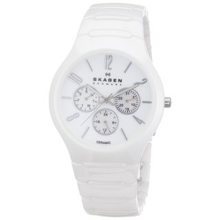 Skagen Unisex Multi-Function Mother Of Pearl Dial White Ceramic Bracelet Watch