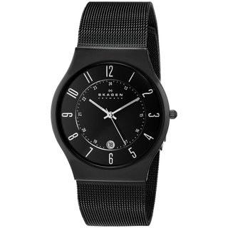 Skagen Men's Analog Black Dial Black Titanium and Stainless Steel Mesh Watch 233XLTMB