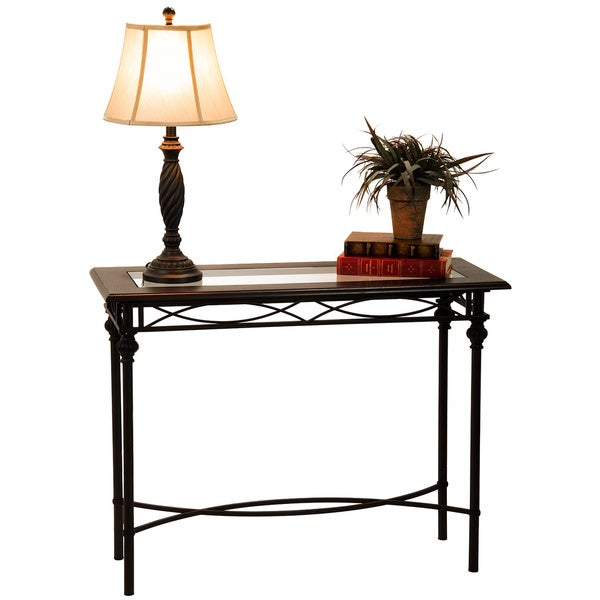 40 Inch Dark Bronze Console Table With Mahogany Wood Top And Gl Insert