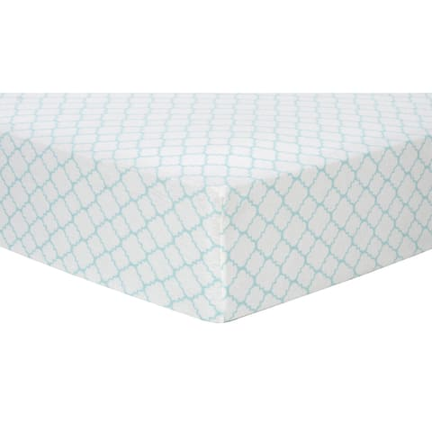 Trend Lab Mint Quatrefoil Deluxe Flannel Fitted Crib Sheet