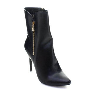 DBDK London-2 Women's Pointed Toe Stiletto Heel Side Zip Mid-calf Dress Boots