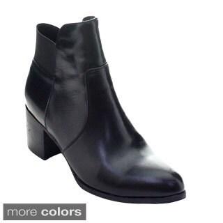 DBDK Deirder-1 Women's Ankle Strap Elastic Chunky Heel Side Zipper Booties