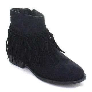 DBDK Hana-1 Women's Fringe Strappy Zipper Chunky Heel Bohemian Ankle Booties
