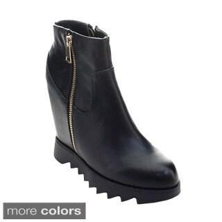 DBDK Monte-3 Women's Platform Hidden Wedge Heel Zipper Lug Sole Ankle Booties