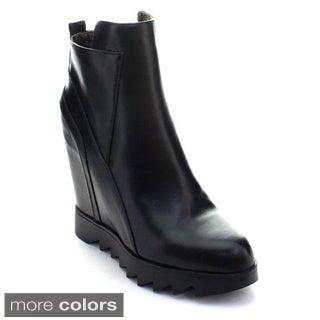 DBDK Texas-1 Women's Platform Hidden Wedge Heel Zipper Lug Sole Ankle Booties