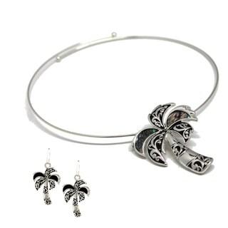 Bleek2Sheek Pearl Shell Palm Tree Choker Necklace and Earring Set