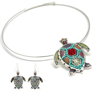 Bleek2Sheek Mosaic Turtle Choker Necklace and Earring Set