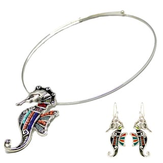 Bleek2Sheek Mosaic Seahorse Choker Necklace and Earring Set