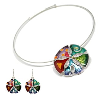 Bleek2Sheek Mosaic Sand Dollar Choker Necklace and Earring Set