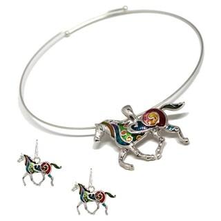 Bleek2Sheek Mosaic Horse Choker Necklace and Earring Set