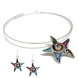 Bleek2Sheek Mosaic Starfish Choker Necklace and Earring Set
