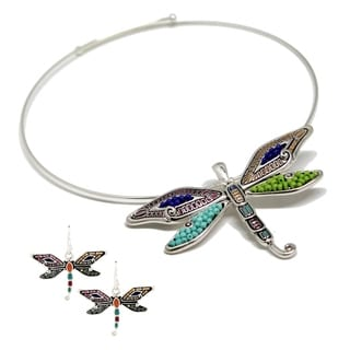 Bleek2Sheek Mosaic Dragonfly Choker Necklace and Earring Set