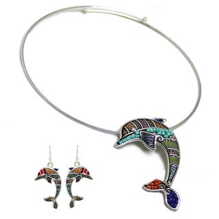 Bleek2Sheek Mosaic Dolphin Choker Necklace and Earring Set