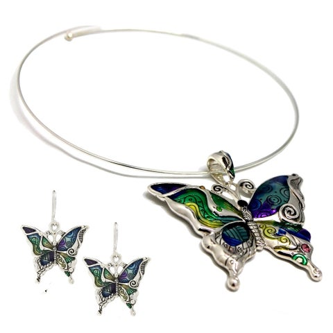 Bleek2Sheek Mosaic Butterfly Choker Necklace and Earring Set