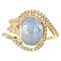 Anika and August 14k Yellow Gold Ethiopian Opal 2/5ct TDW Diamond Ring (G-H, I1-I2)